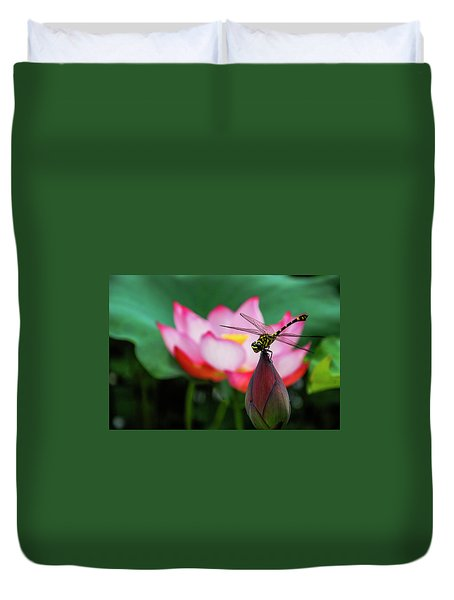 A Dragonfly On Lotus Flower Duvet Cover