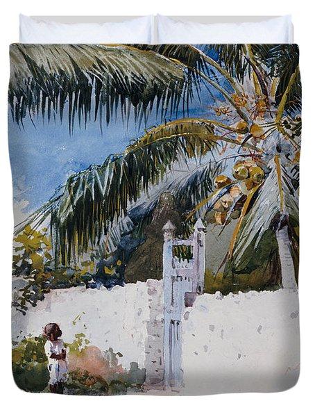 A Garden In Nassau Duvet Cover by Winslow Homer