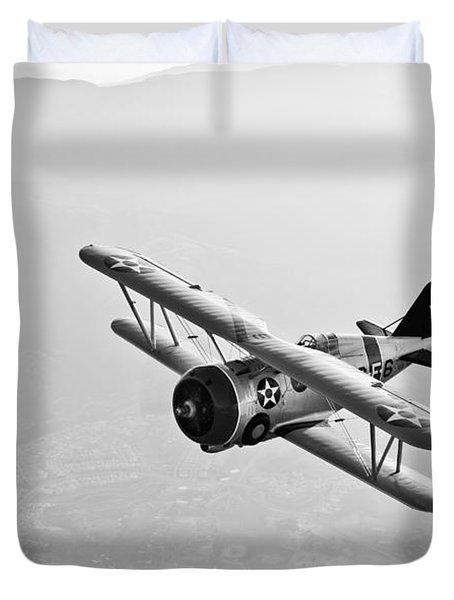 A Grumman F3f Biplane In Flight Duvet Cover by Scott Germain
