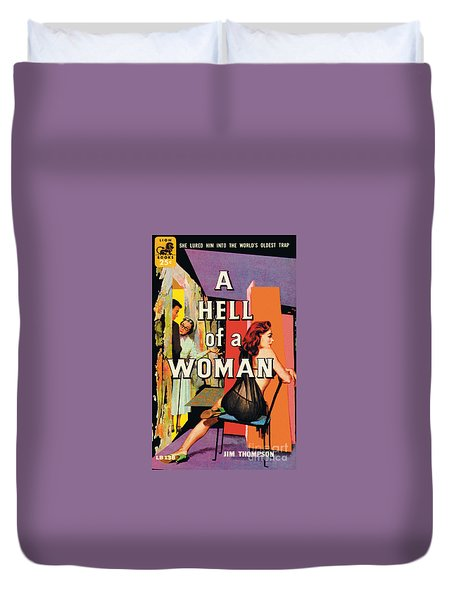 Duvet Cover featuring the painting A Hell Of A Woman by Morgan Kane