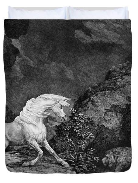 A Horse Affrighted By A Lion Duvet Cover