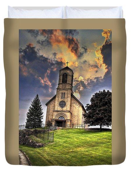 Duvet Cover featuring the photograph A Light From Heaven by Deborah Klubertanz