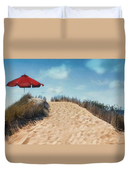 Duvet Cover featuring the photograph A Little Shade by Robin-Lee Vieira