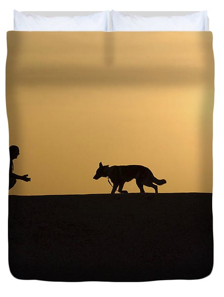 A Military Working Dog And His Handler Duvet Cover by Stocktrek Images