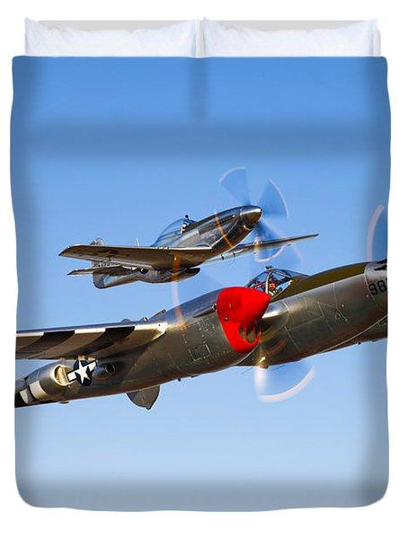 A P-38 Lightning And P-51d Mustang Duvet Cover by Scott Germain