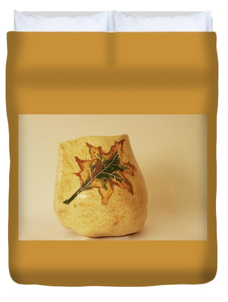 Duvet Cover featuring the photograph A Pot On A Leaf by Itzhak Richter