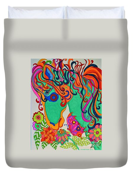 A Rainbow Called Romeo Duvet Cover by Alison Caltrider