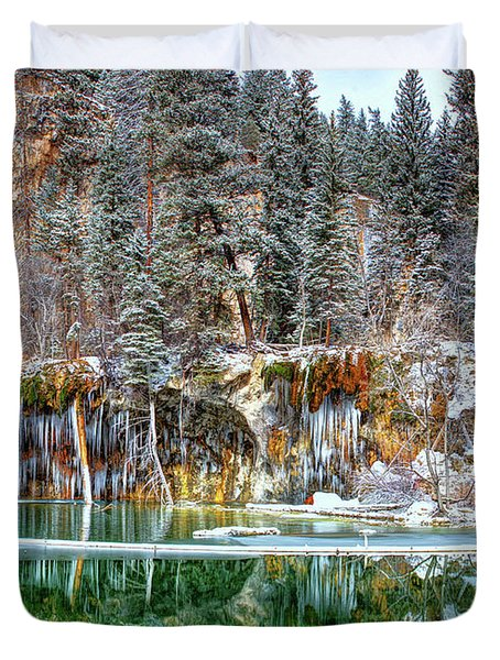 Olena Art Serene Chill Hanging Lake Photograph The Gem Of Glenwood Canyon Colorado Duvet Cover