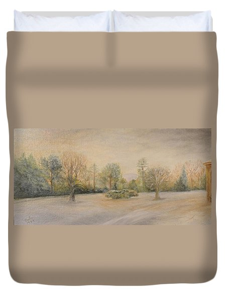 A Snowy Morn At Dalhebity Duvet Cover by Douglas Ann Slusher