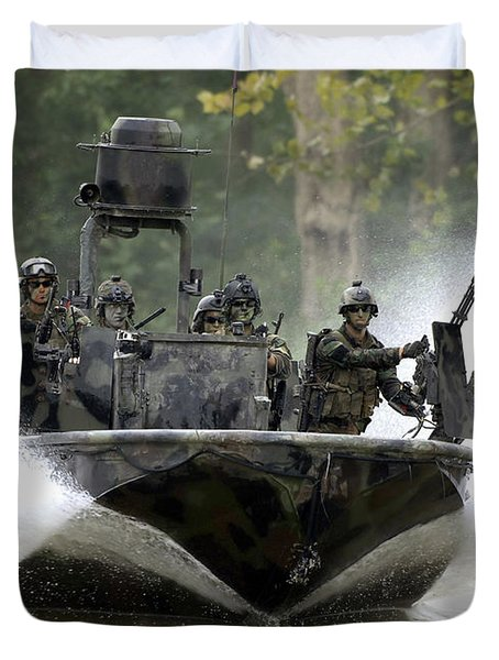 Duvet Cover featuring the photograph A Special Operations Craft Riverine by Stocktrek Images