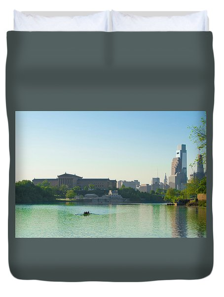 Duvet Cover featuring the photograph A Spring Morning In Philadelphia by Bill Cannon