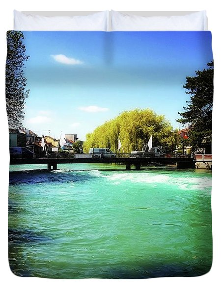 Duvet Cover featuring the photograph Aare River by Mimulux patricia no No