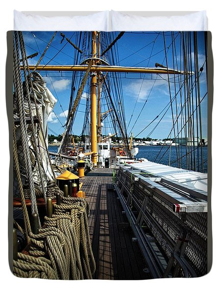 Duvet Cover featuring the photograph Aboard The Eagle by Karol Livote