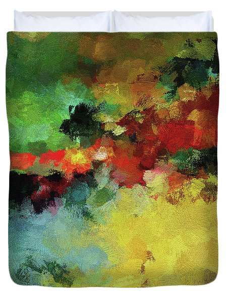 Duvet Cover featuring the painting Abstract And Minimalist  Landscape Painting by Ayse Deniz