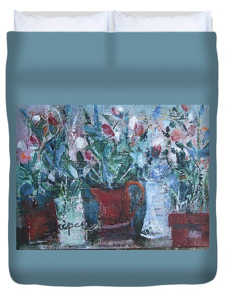 Abstract Flowers Duvet Cover by Betty Pieper