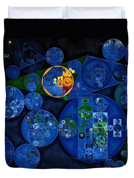 Duvet Cover featuring the digital art Abstract Painting - Dark Midnight Blue by Vitaliy Gladkiy