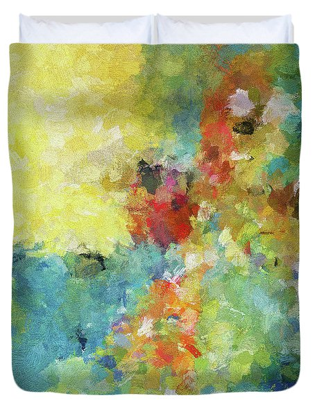 Duvet Cover featuring the painting Abstract Seascape Painting by Ayse Deniz