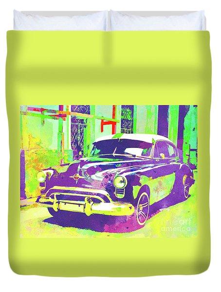 Abstract Watercolor - Havana Cuba Classic Car I Duvet Cover
