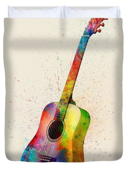 Acoustic Guitar Abstract Watercolor Duvet Cover
