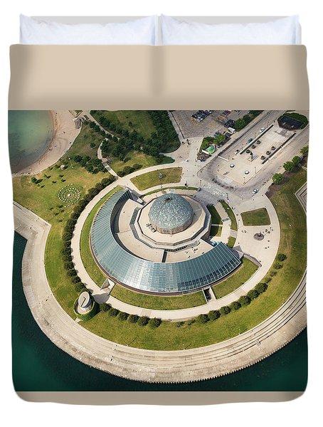 Duvet Cover featuring the photograph Adler Planetarium Aerial by Adam Romanowicz