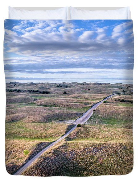 aerial view of Nebraska Sandhills  Duvet Cover
