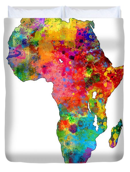 Africa Watercolor Map Duvet Cover