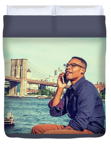 African American Man Traveling In New York Duvet Cover