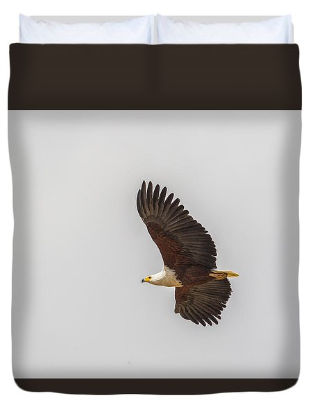 Duvet Cover featuring the tapestry - textile African Fish Eagle by Kathy Adams Clark