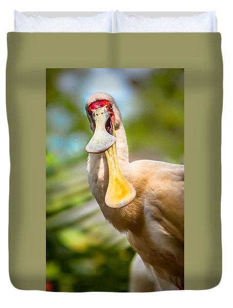 African Spoonbill Duvet Cover by Wayne King