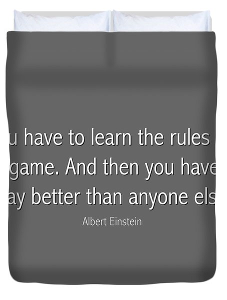 Albert Einstein Famous Quote In Gray Duvet Cover