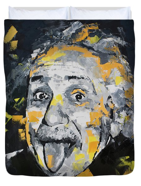 Duvet Cover featuring the painting Albert Einstein by Richard Day
