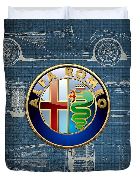 Alfa Romeo 3 D Badge Over 1938 Alfa Romeo 8 C 2900 B Vintage Blueprint Duvet Cover by Serge Averbukh