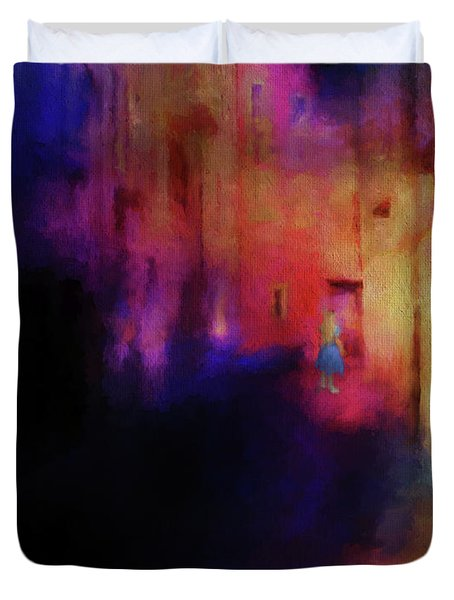 Duvet Cover featuring the mixed media Alice by Jim  Hatch