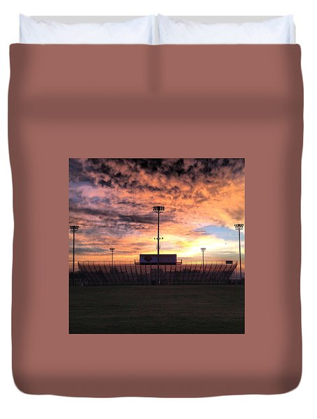 Alma High School Don Miller Field Sunrise Bleachers Duvet Cover