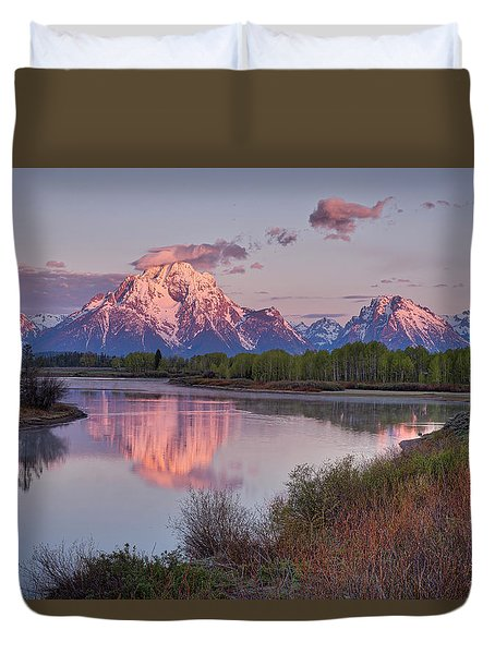 Alpenglow At Oxbow Bend Duvet Cover