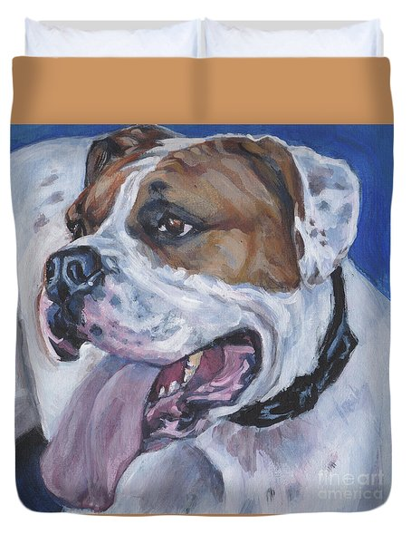 Duvet Cover featuring the painting American Bulldog by Lee Ann Shepard