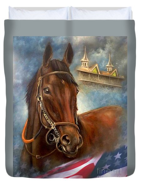 Duvet Cover featuring the painting American Pharoah by Patrice Torrillo
