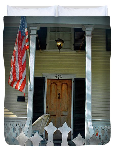 Duvet Cover featuring the photograph American Porch by Jost Houk