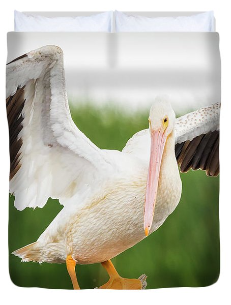 American White Pelican  Duvet Cover