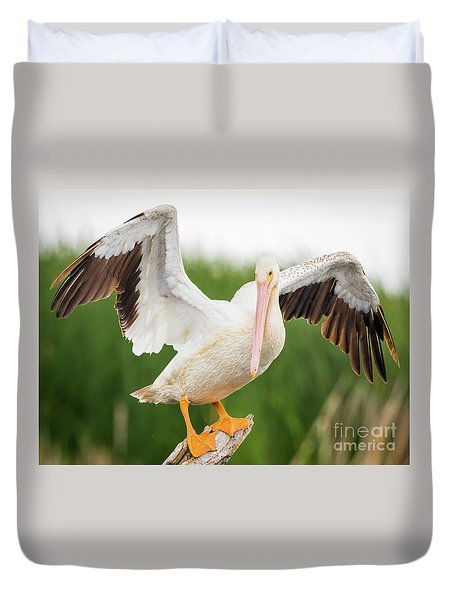 Duvet Cover featuring the photograph American White Pelican  by Ricky L Jones