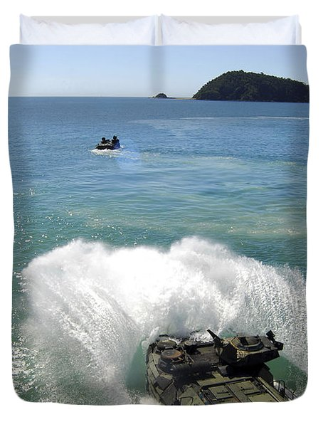 Amphibious Assault Vehicles Exit Duvet Cover by Stocktrek Images