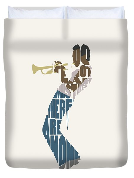 Duvet Cover featuring the digital art Miles Davis Typography Art by Inspirowl Design