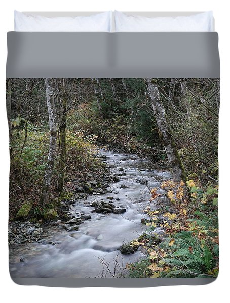 Duvet Cover featuring the photograph An Autumn Stream by Jeff Swan