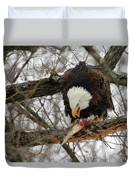 An Eagles Meal Duvet Cover by Brook Burling