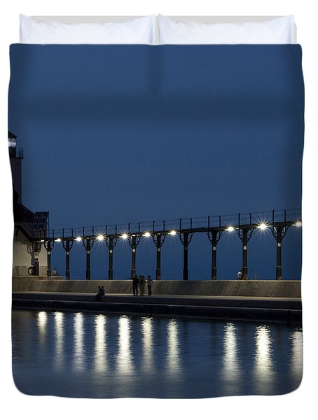 An Evening At The Lighthouse Duvet Cover
