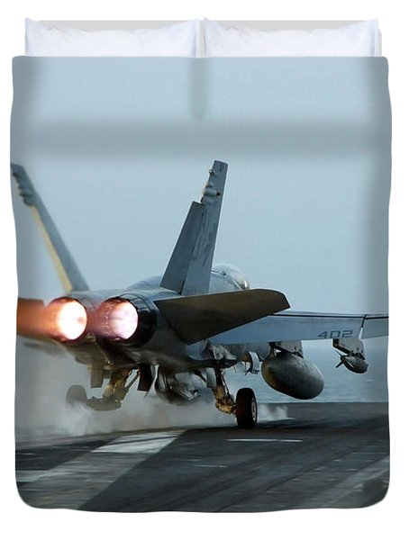 An Fa-18 Hornet Launches Duvet Cover by Stocktrek Images