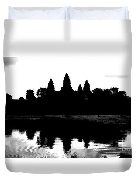 Angkor Wat Black  Duvet Cover