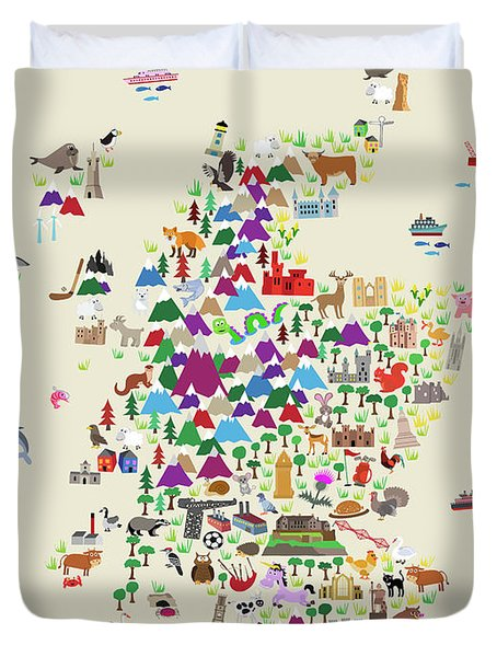 Animal Map Of Scotland For Children And Kids Duvet Cover