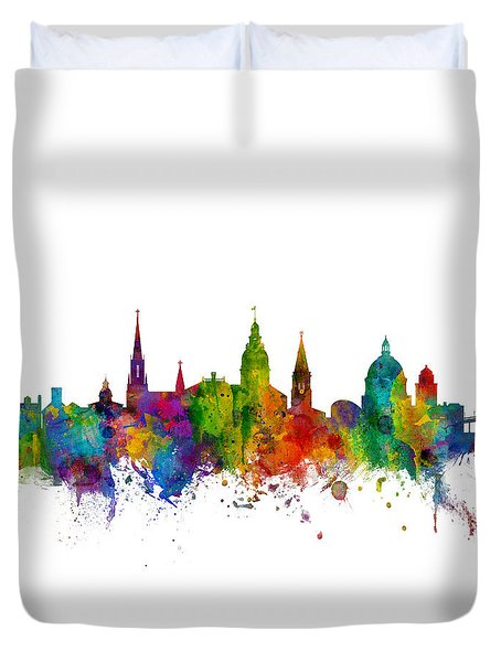 Duvet Cover featuring the digital art Annapolis Maryland Skyline by Michael Tompsett