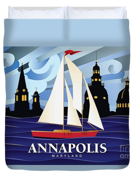 Annapolis Skyline Red Sail Boat Duvet Cover